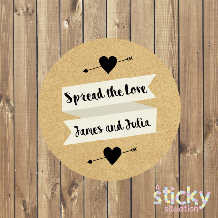 Personalised 'Spread the Love' Stickers - Kraft Design